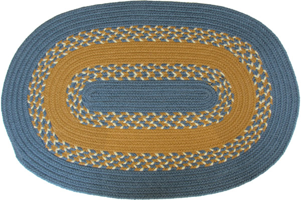 1812 Williamsburg Blue Amp Gold Oval Braided Rug