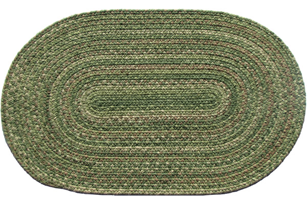 Lowcountry Green Oval Wool Braided Rug