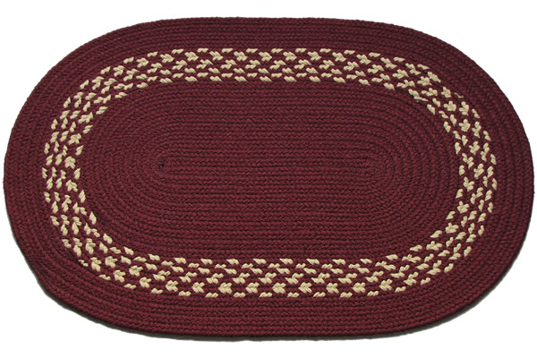 Burgundy Burgundy Amp Cream Band Oval Braided Rug