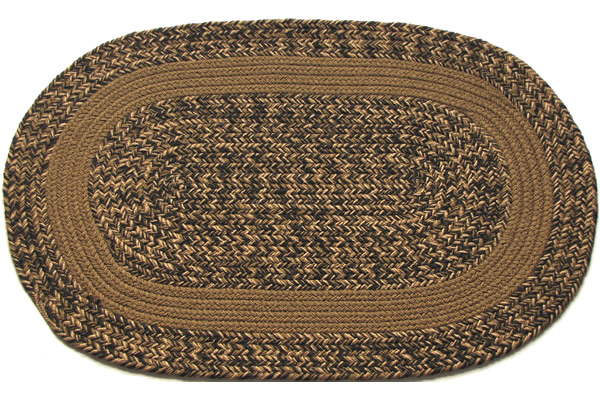Charles Blend Light Brown Band Oval Braided Rug