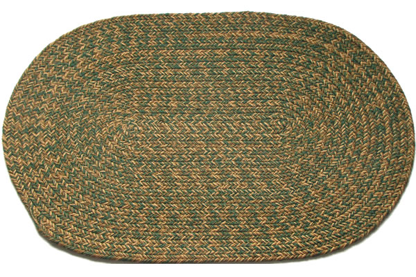 Charles Blend Dark Green Oval Braided Rug