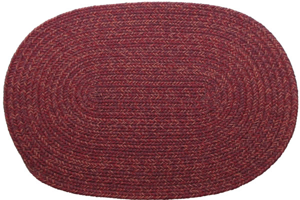 Country Burgundy Oval Braided Rug