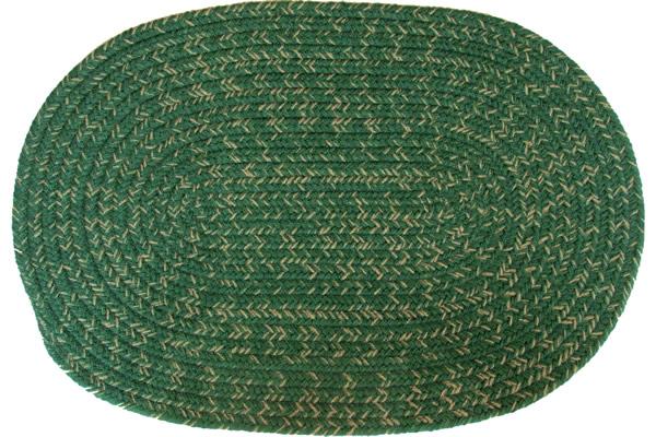 Country Dark Green Oval Braided Rug