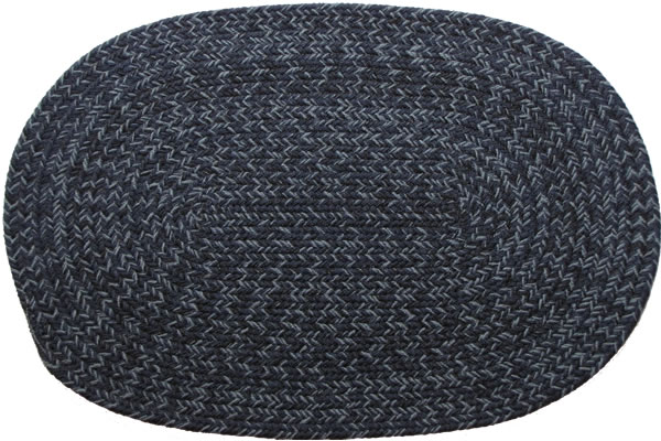 Country Navy Oval Braided Rug