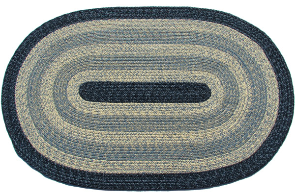 Georgia Blue Oval Braided Rug