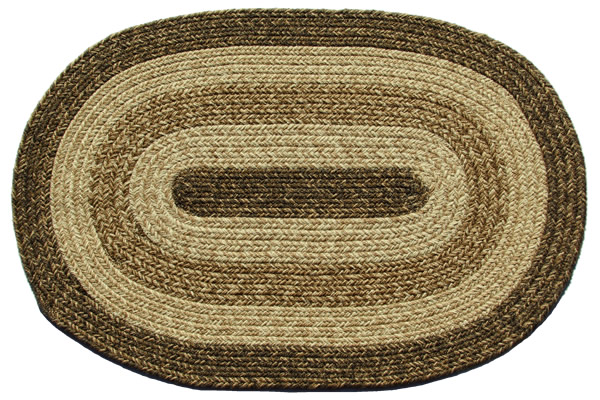 New York Brown Oval Braided Rug