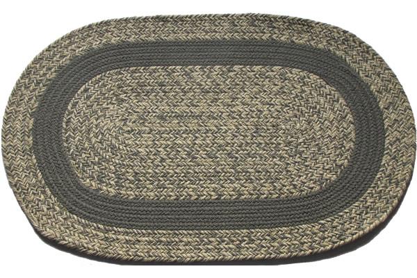 Oatmeal Gray Gray Band Oval Braided Rug
