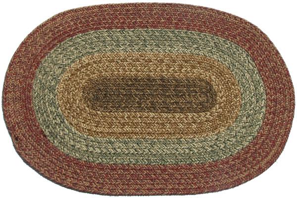 Ozark Yukon Brown Green Amp Red Oval Braided Rug