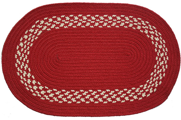 Red amp Cream Band Oval Braided Rug