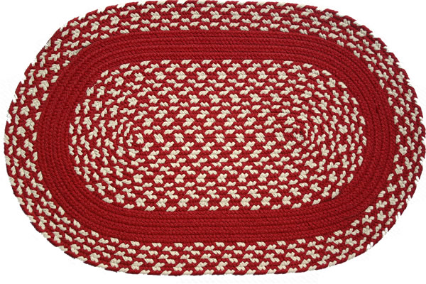 Red cream red band oval braided rug for Cream and red rugs