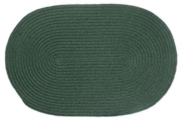 Solid Dark Green Oval Braided Rug