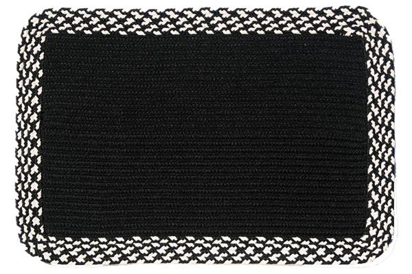 Black Black Amp Cream Band Rectangle Braided Rug