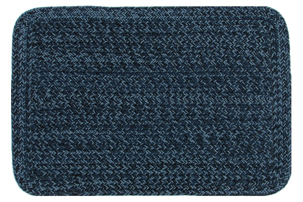 Country Navy Rectangle Braided Rug