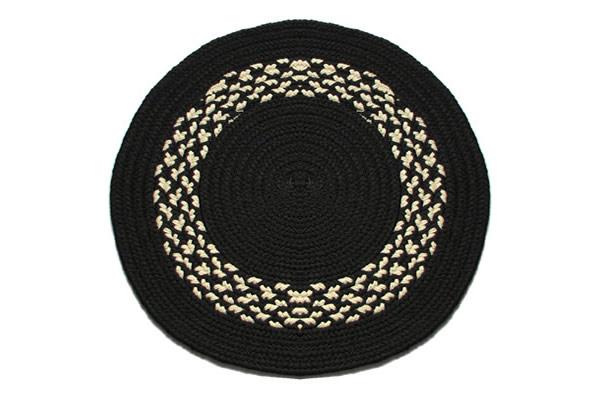Black amp Cream Band 2 Round Braided Rug