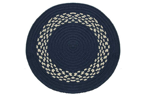 navy  navy  cream band  braided rug, 8' round navy rug, navy and cream round rug, navy and green round rug