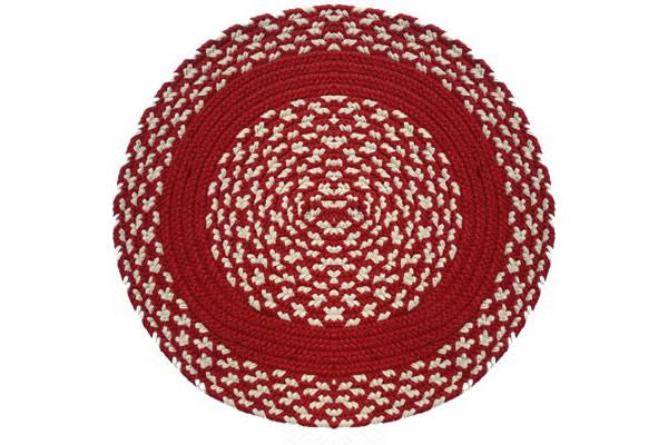 Red Amp Cream Red Band Round Braided Rug