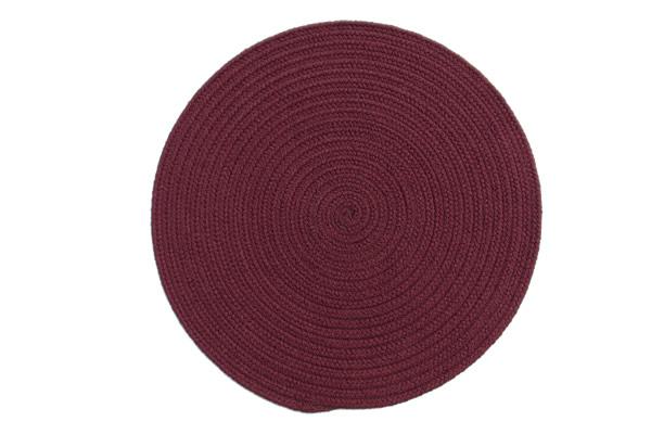 Solid Burgundy Round Braided Rug