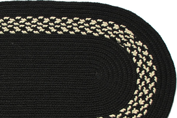 Black Black amp Cream Band Braided Rug