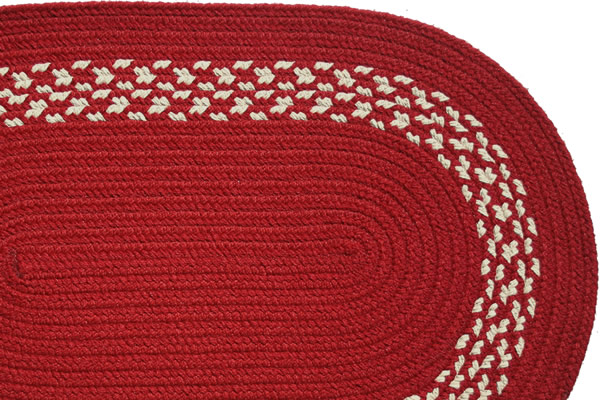 Red red cream band braided rug for Cream and red rugs