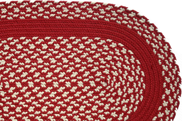 Red cream red band braided rug for Cream and red rugs