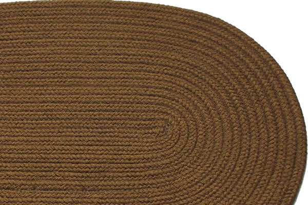 Solid Light Brown Braided Rug