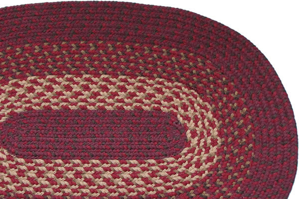 1607 Burgundy Braided Rug