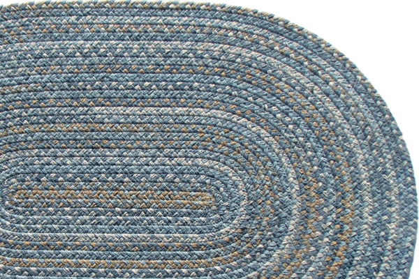 Lowcountry Blue Wool Braided Rug