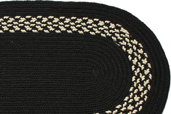 Black Black Amp Cream Band Braided Rug