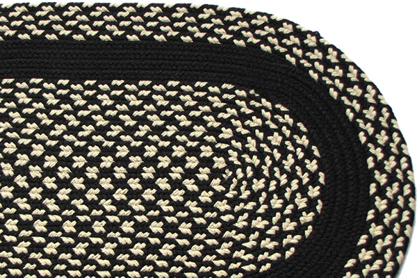 Black Amp Cream Black Band Braided Rug