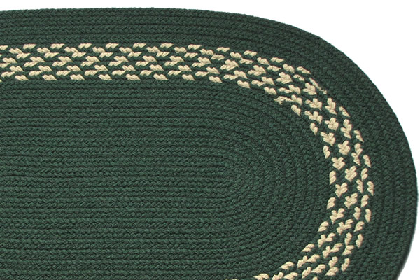 Dark Green Dark Green Amp Cream Band Braided Rug