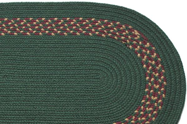 Dark Green Dark Green Burgundy Amp Camel Band Braided Rug