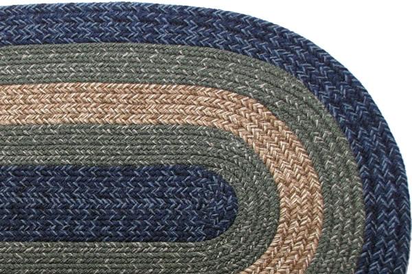 Massachusetts Country Navy Amp Sage Braided Rug