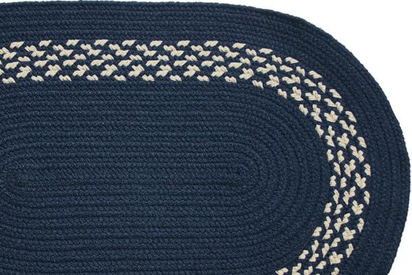 Navy Navy Amp Cream Band Braided Rug