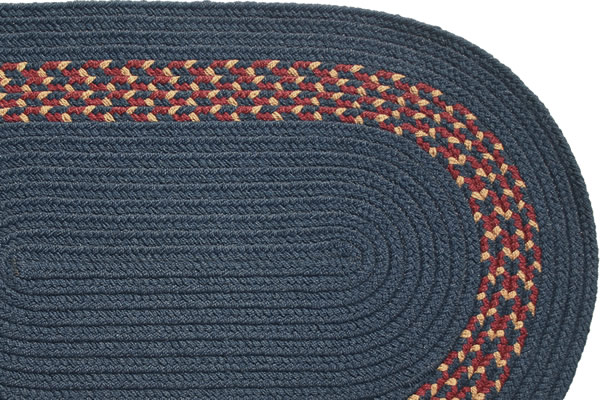 Navy Navy Burgundy Amp Camel Band Braided Rug
