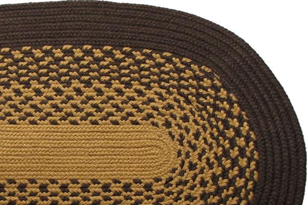 Roanoke Island Dark Brown Amp New Gold Braided Rug