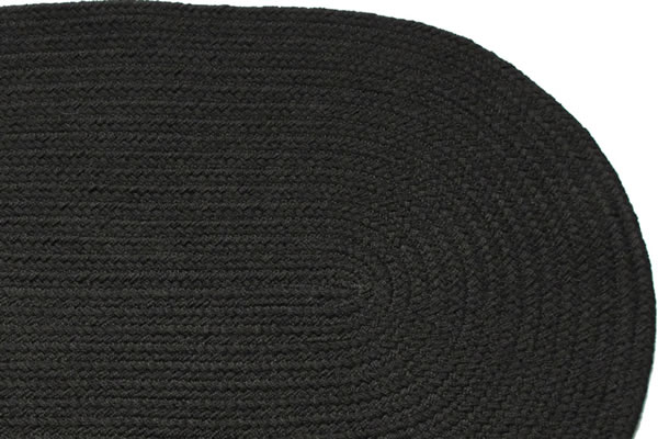 Solid Black Rectangle Braided Rug
