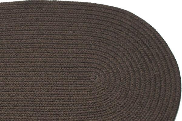Solid Dark Brown Braided Rug