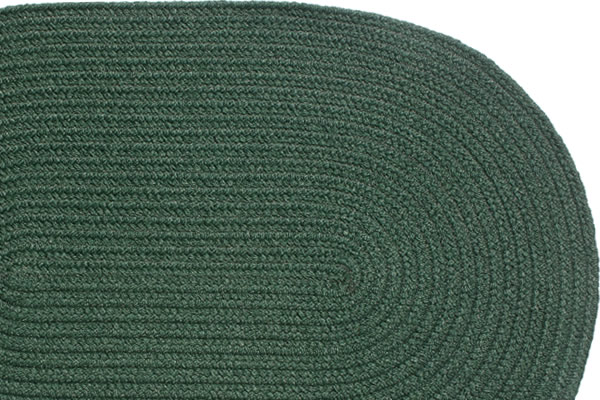 Solid Dark Green Braided Rug