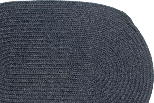 Solid Navy Braided Rug