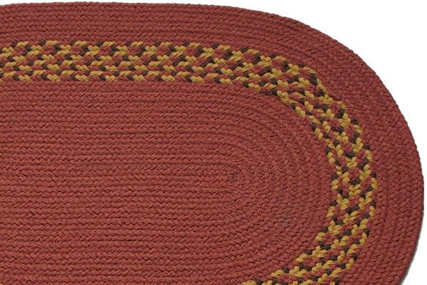Terracotta Earth Block Band Braided Rug